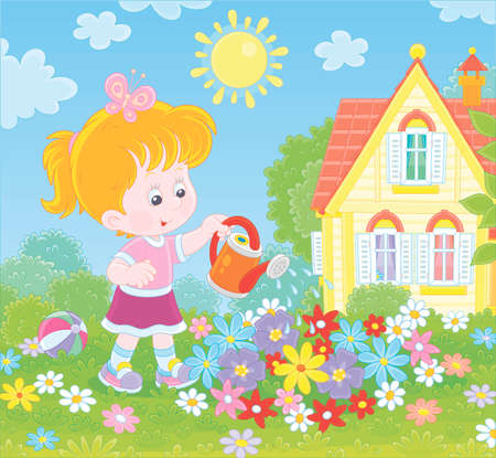 Smiling little girl watering colorful flowers on a flowerbed on a green lawn in front of her house on a sunny summer day, illustration in a cartoon style Vettoriali