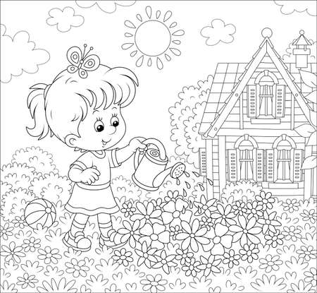 Smiling little girl watering flowers on a flowerbed on a lawn in front of her house on a sunny summer day, black and white illustration in a cartoon style Archivio Fotografico - 125471826