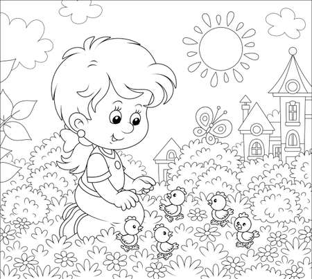 Little girl playing with small funny chicks among flowers on grass of a lawn on a sunny summer day, black and white illustration in a cartoon style for a coloring book Stock Illustratie