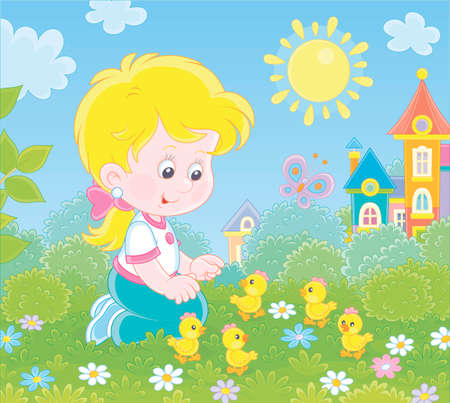 Little girl playing with small yellow chicks among flowers on green grass on a sunny summer day, illustration in a cartoon style