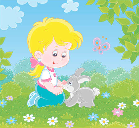 Smiling little girl playing with her small grey bunny among flowers on green grass on a summer day, illustration in a cartoon style Ilustração