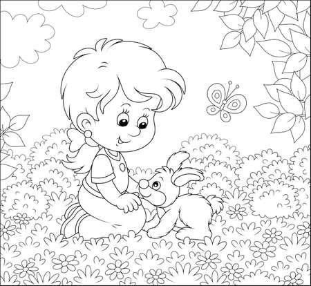 Smiling little girl playing with her small bunny among flowers on a lawn on a summer day, black and white illustration in a cartoon style for a coloring book