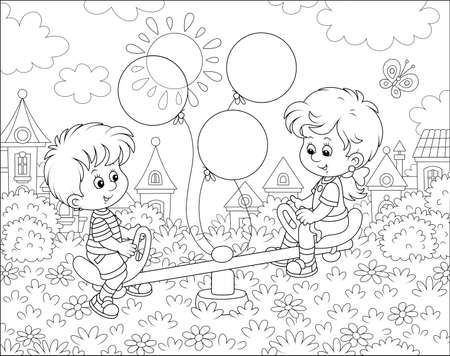 Little children playing on a toy seesaw on a playground in a park of a small town on a sunny summer day, black and white illustration in a cartoon style Vetores