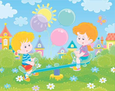 Little children playing on a toy seesaw on a playground in a green park of a small town on a sunny summer day, vector illustration in a cartoon style Illustration
