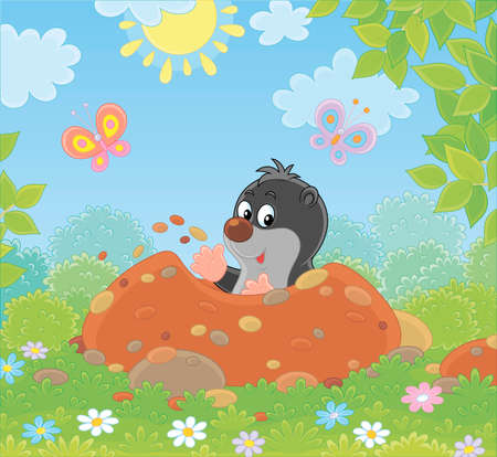 Funny little mole digging its small burrow in a green garden on a sunny summer day, illustration in a cartoon style Ilustracja