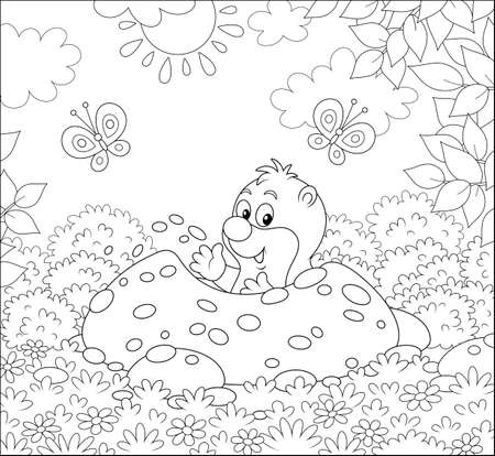 Funny little mole digging its small burrow in a garden on a sunny summer day, black and white illustration in a cartoon style for a coloring book