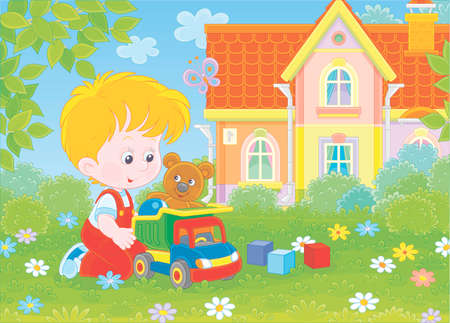 Little boy playing with a toy truck, a funny teddy bear and color cubes among flowers on green grass of a lawn on a summer day, illustration in a cartoon style Ilustração