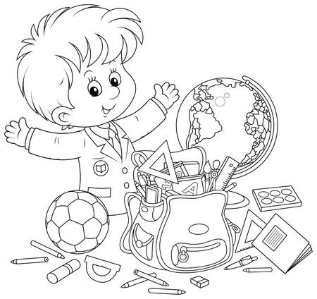 Smiling little schoolboy with rules, textbooks, exercise books, pencils, pens, football, globe and school bag, black and white illustration in a cartoon style