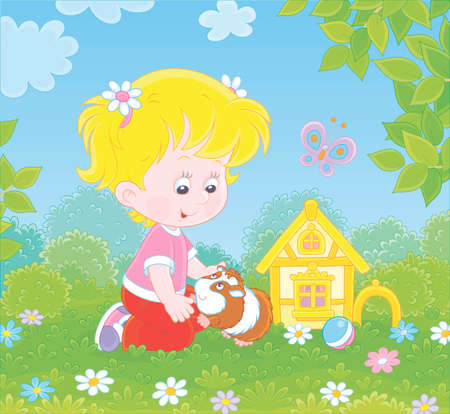 Smiling little girl playing with her small pet cavy among flowers on green grass of a lawn on a sunny summer day, illustration in a cartoon style