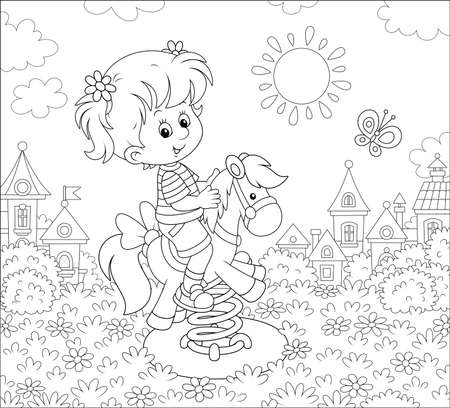 Smiling girl playing on a toy horse swing on a playground of a small town on a sunny summer day, black and white illustration in a cartoon style for a coloring book Illusztráció