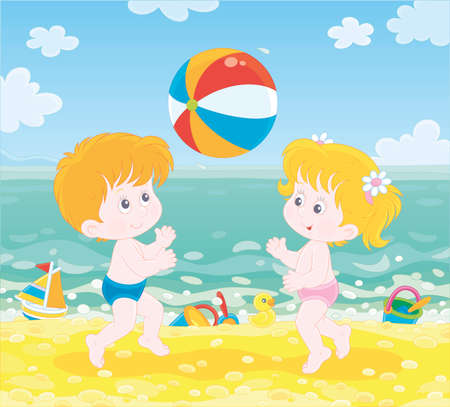 Happy little kids playing a colorful ball in blue water on a sea beach on a sunny summer day, illustration in a cartoon style