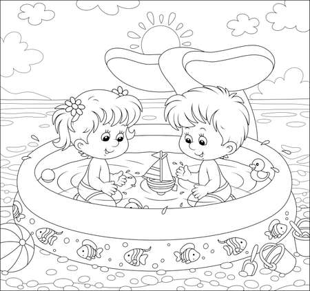 Happy little kids with toys playing in an inflatable paddling pool near water on a sea beach on a sunny summer day, black and white outline vector illustration in a cartoon style for a coloring book Vector Illustration