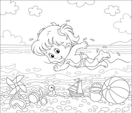 Little girl swimming in sea water on a beach on a sunny summer day, black and white outline vector illustration in a cartoon style for a coloring book Ilustracja