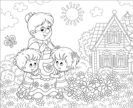 Granny and her little grandchildren smiling and hugging among flowers on a lawn in front of a village house on a sunny summer day, black and white vector illustration in a cartoon style
