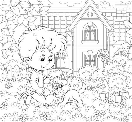 Little boy playing with a cute small kitten among flowers on a lawn in front of his house on a sunny summer day, black and white illustration in a cartoon style