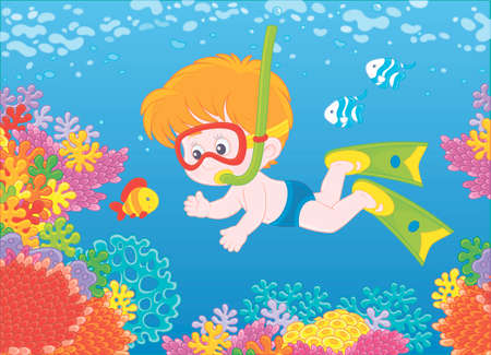 Little boy diving with a mask and a snorkel among funny striped fishes on a colorful coral reef in blue water of a tropical sea, illustration in a cartoon style Illustration