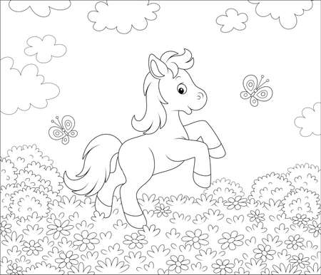Cute little pony dancing with funny butterflies among flowers on a meadow on a sunny summer day, black and white outline illustration in a cartoon style for a coloring book