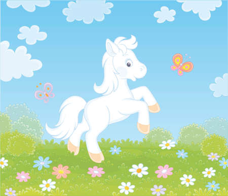 Little white pony dancing with funny butterflies among colorful flowers on green grass of a meadow on a sunny summer day, illustration in a cartoon style Ilustração