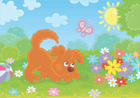 Funny small playful puppy playing with a butterfly among colorful flowers on green grass of a garden on a sunny summer day, illustration in a cartoon style