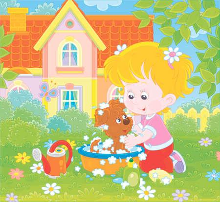 Petite fille mignonne lavant son petit chiot dans un bassin avec de la mousse sur une pelouse verte devant une maison colorée un jour d'été ensoleillé, illustration dans un style de dessin animé