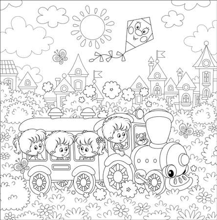 Happy little children playing in a funny toy train on a playground in a summer park of a small town on a sunny day, black and white outline illustration in a cartoon style for a coloring book Vector Illustration