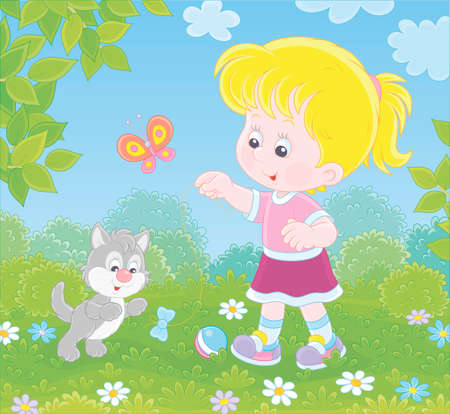 Smiling little girl playing with a small grey kitten among flowers on green grass of a lawn on a sunny summer day, illustration in a cartoon style Ilustração