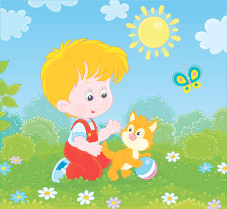 Smiling little boy playing with a small kitten among flowers on green grass of a lawn on a sunny summer day, illustration in a cartoon style