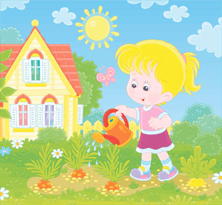 Smiling little girl watering carrots in her small kitchen garden in front of a house on a sunny summer day, illustration in a cartoon style Ilustração