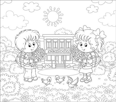 Happy schoolchildren with big bouquets of flowers and schoolbags standing in front of their school on a sunny day on the first of September, black and white illustration in a cartoon style