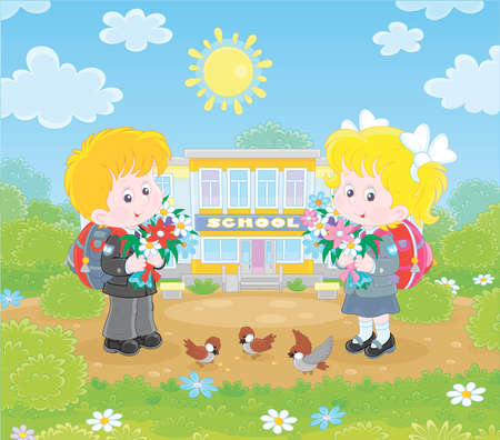Happy schoolchildren with colorful bouquets of flowers and schoolbags standing in front of their school on a sunny day on the first of September, illustration in a cartoon style 向量圖像