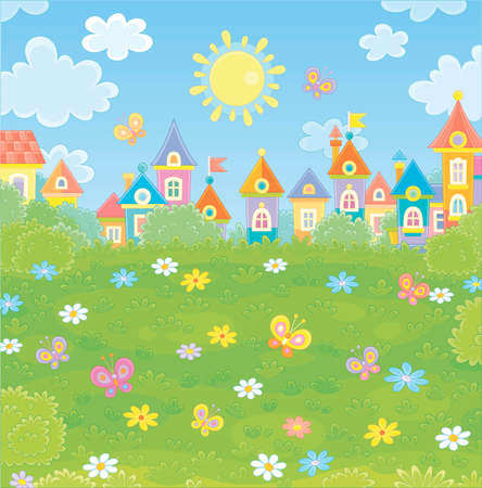 Colorful houses of a small town among green trees, flowers and flittering butterflies on a sunny summer day, vector illustration in a cartoon style