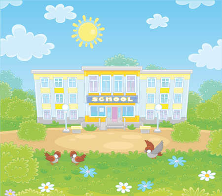 School building, a school yard and sparrows on a green lawn on a sunny day, vector illustration in a cartoon style