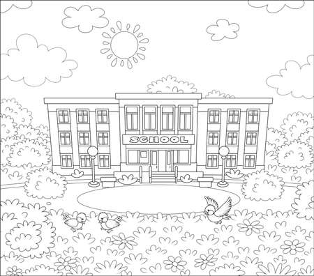 School building, a school yard and sparrows on a lawn on a sunny day, black and white illustration in a cartoon style for a coloring book