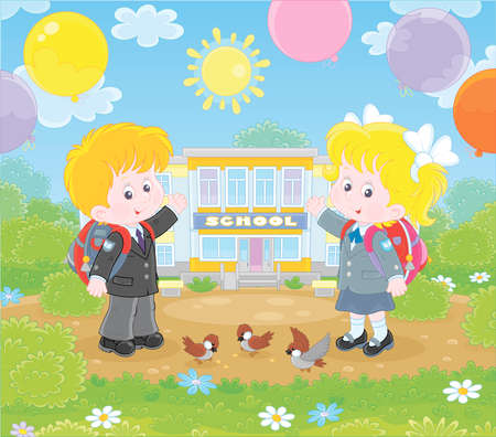 The first of September. Happy schoolchildren with schoolbags and colorful balloons standing in front of their school on a sunny day, illustration in a cartoon style