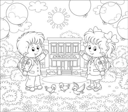 The first of September. Happy schoolchildren with schoolbags and colorful balloons standing in front of their school on a sunny day, black and white illustration in a cartoon style