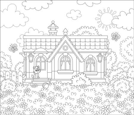 Small village house and a cute little kitten watching funny butterflies flittering among flowers on a lawn on a sunny summer day, black and white illustration in a cartoon style for a coloring book