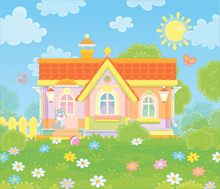 Colorful village house and a cute grey kitten watching funny butterflies flittering among flowers on green grass of a lawn on a sunny summer day, illustration in a cartoon style
