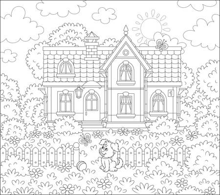 Small village house and a cute little pup watching funny butterflies flittering among flowers on a lawn on a sunny summer day, black and white illustration in a cartoon style for a coloring book