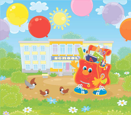 The first of September. Happy schoolbag cartoon character with colorful balloons in front of a school on a sunny day illustration