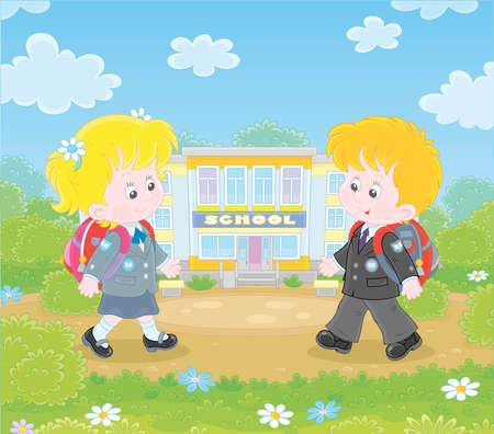 Happily smiling schoolchildren in uniform with schoolbags going to their school for classes, illustration in a cartoon style