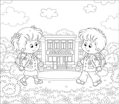 Happily smiling schoolchildren in uniform with schoolbags going to their school for classes, black and white illustration in a cartoon style for a coloring book 向量圖像
