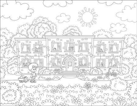 Small girls playing with toys among flowers on a front lawn of their house on a sunny summer day, black and white illustration in a cartoon style for a coloring book