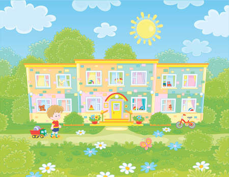 Small girls playing with toys among flowers on green grass of a front lawn of their house on a sunny summer day, illustration in a cartoon style Stock Illustratie