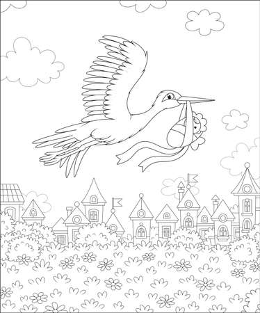 White stork flying and carrying a newborn child over houses of a small town on a sunny day, black and white vector illustration in a cartoon style for a coloring book