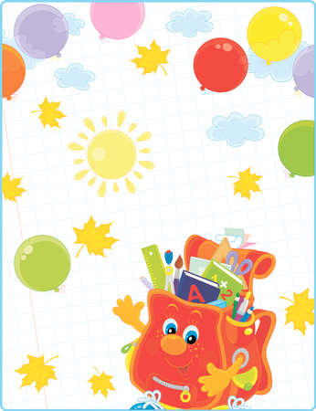 School background. Happily smiling schoolbag character with colorful balloons waving in greeting on a sunny autumn day. Vector cartoon illustration