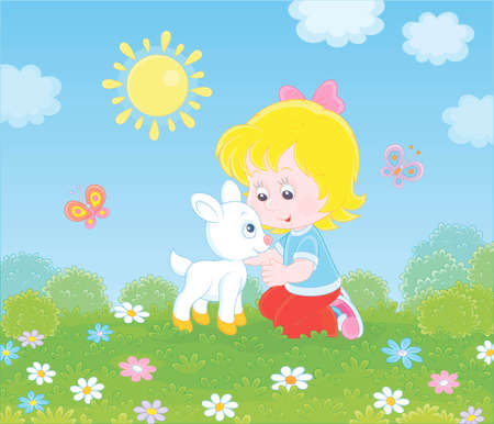 Happy little girl playing with a small white kid among wildflowers on green grass of a summer field on a sunny day, vector illustration in a cartoon style