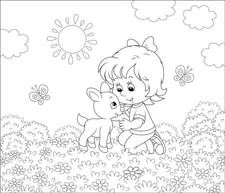 Happy little girl playing with a small kid among wildflowers on grass of a summer field on a sunny day, black and white vector illustration in a cartoon style for a coloring book