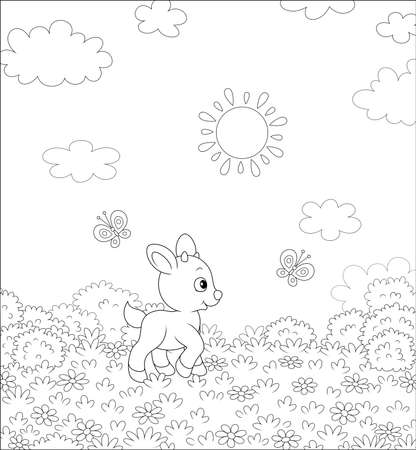 Cute little kid playing with flittering butterflies among flowers on a meadow on a sunny summer day, black and white vector illustration in a cartoon style for a coloring book