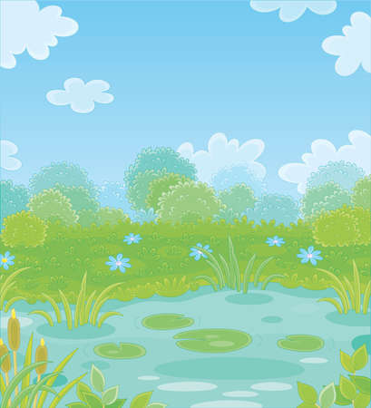 Small picturesque blue pond on a green meadow with flowers on a pretty summer day, vector illustration in a cartoon style