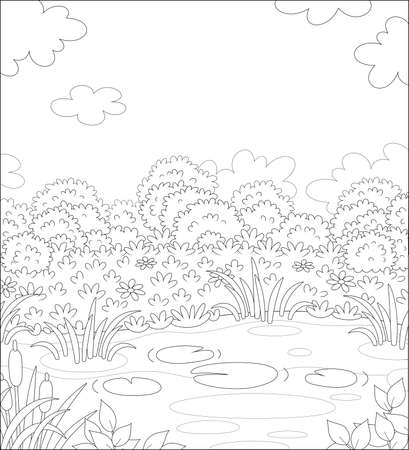 Small picturesque pond on a meadow with flowers on a pretty summer day, black and white outline vector illustration in a cartoon style for a coloring book